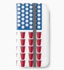 Beer Pong Drinking Game American Flag iPhone Flip-Case/Hülle/Klebefolie