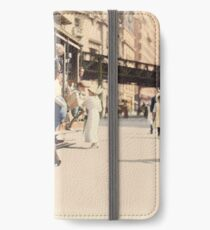 Mother helps her child off trolley in NYC — Colorized iPhone Wallet/Case/Skin