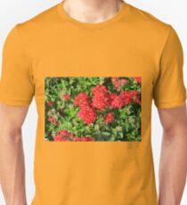 Red flowers bush. Unisex T-Shirt
