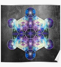 Metatron's Cube blue Poster