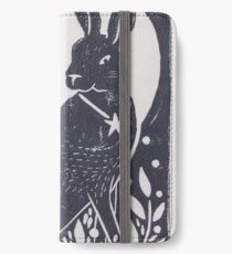 Hare and Moon Lino Print iPhone Wallet/Case/Skin
