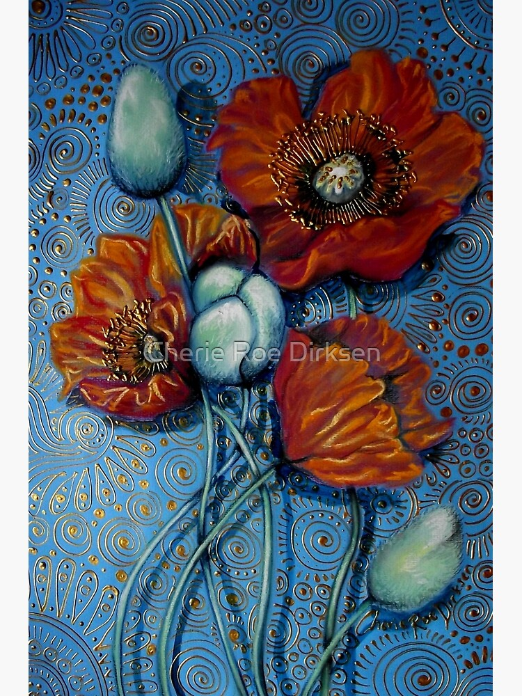 Orange Poppies on Blue by cheriedirksen