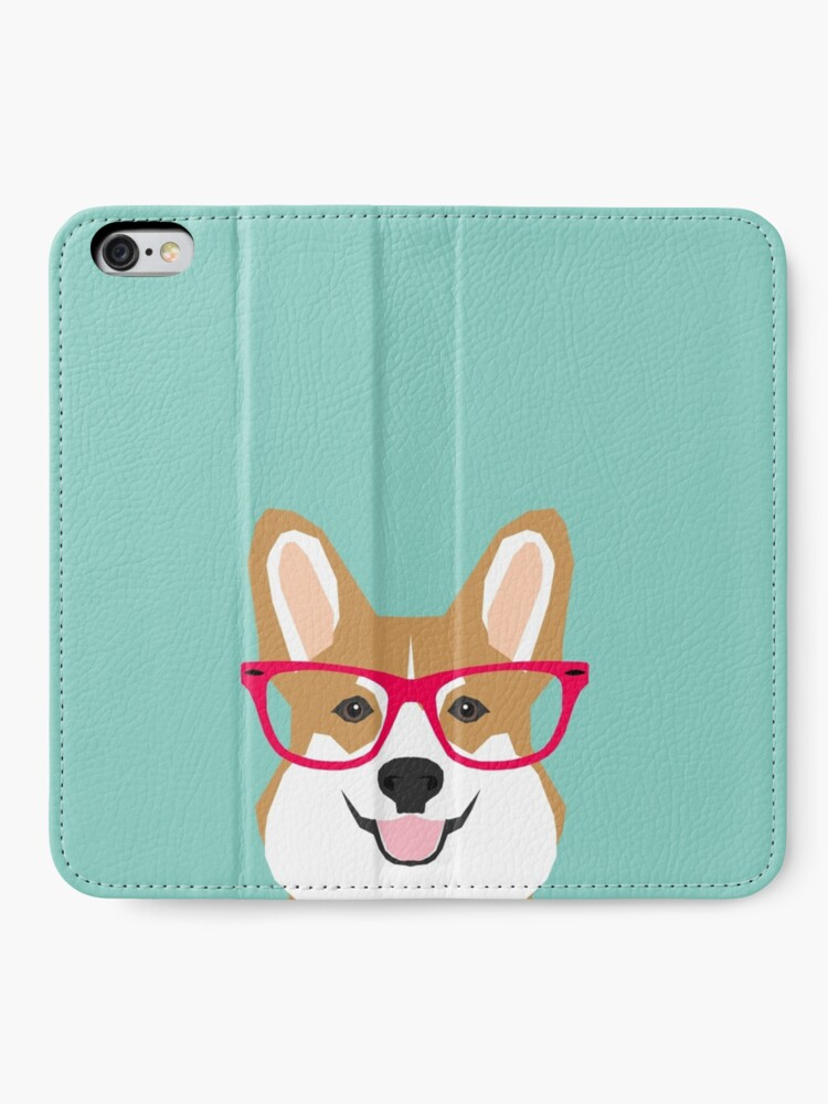 Alternate view of Teagan Glasses Corgi cute puppy welsh corgi gifts for dog lovers and pet owners love corgi puppies iPhone Wallet