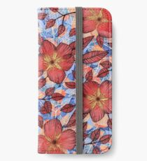 Coral Summer - a hand drawn floral pattern iPhone Wallet/Case/Skin