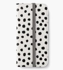Preppy brushstroke free polka dots black and white spots dots dalmation animal spots design minimal iPhone Wallet/Case/Skin