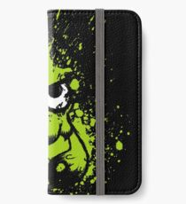 Splatoon Black Squid with Blank Eyes on Green Splatter Mask iPhone Wallet/Case/Skin