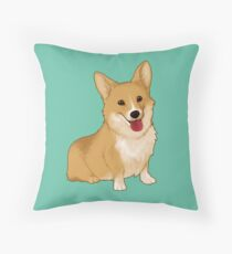 Cute smiling corgi Throw Pillow