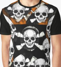 Rustic Metal Skull Bones Pattern Graphic T-Shirt