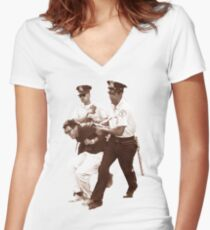 Bernie Sanders Arrested Women's Fitted V-Neck T-Shirt