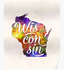 Wisconsin US State in watercolor text cut out Poster
