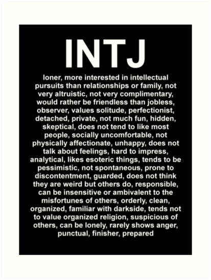 """Intj Definition Of Personality Equals: DESCRIPTION"""" Art Prints By"""