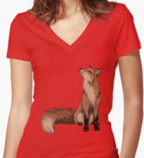 Red Fox Women's Fitted V-Neck T-Shirt