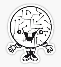 laughing face funny comic cartoon cyborg robot head ball circle electronic lines data man male figure sweet cute Sticker