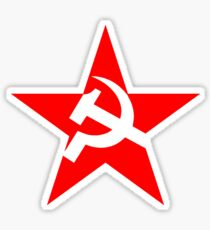 STAR, Red Star, Hammer and sickle, in five leg star. Communism, Russia Sticker