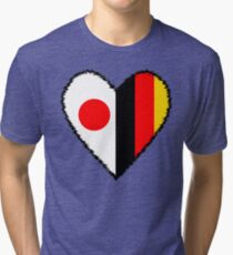 Japan and Germany Heart Tri-blend T-Shirt