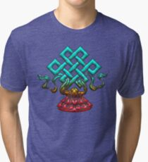 Tibetan Endless Knot, Lotus Flower, Buddhism Tri-blend T-Shirt