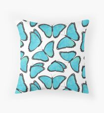 Blue Morpho Butterfly Pattern Throw Pillow