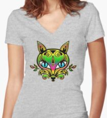 Rainbow fox with blue eyes and ornaments Women's Fitted V-Neck T-Shirt