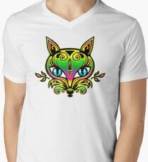 Rainbow fox with blue eyes and ornaments T-Shirt