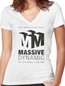 Massive Dynamic (aged look) Women's Fitted V-Neck T-Shirt