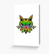 Rainbow fox with blue eyes and ornaments Greeting Card