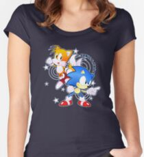 Classic Sonic and Tails 25th Anniversary Style Women's Fitted Scoop T-Shirt