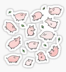 Pink Pigs with Green Acorns  Sticker