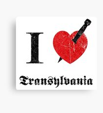 I love Transylvania (black eroded font) Canvas Print