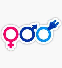 heartbeat current line plug power socket connect pulse electrician male female gender symbol Sticker