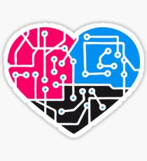 heart, love, colorful electrical equipment. Microchip icon. I love technology Sticker
