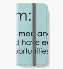 The true definition of feminism - blue iPhone Wallet/Case/Skin