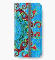 Blue Turquoise Orange and Red Mandala iPhone Wallet/Case/Skin
