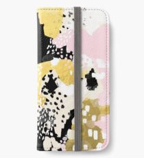 Simone - abstract painting gold foil trendy hipster pastel pink modern trendy colors decor college iPhone Wallet/Case/Skin