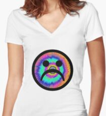 TIE-DYE SAD FACE (CHERRY VERSION) Women's Fitted V-Neck T-Shirt