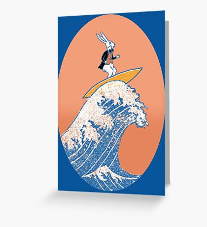 White Rabbit Surfing Greeting Card