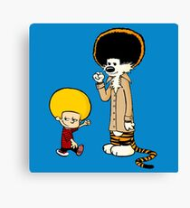 Calvin & Hobbes : Afro Style Canvas Print