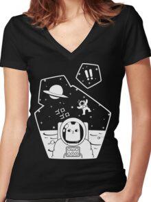 Christobelle Purrlumbus: Oblivious Explorer of Space Women's Fitted V-Neck T-Shirt