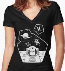 Christobelle Purrlumbus: Oblivious Explorer of Space Women's Fitted V-Neck T-Shirt