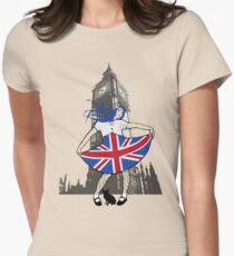 British girl in the city Womens Fitted T-Shirt