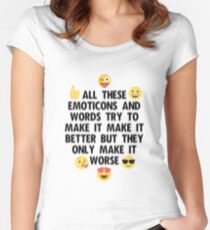 Emoticons-The Wombats Lyrics Women's Fitted Scoop T-Shirt