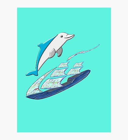 A Dolphin & Sailing Ship chiffon top, etc.design Photographic Print