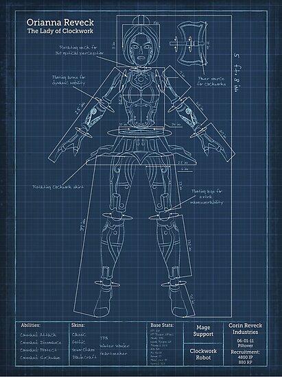 Orianna Robotic Blueprint  Photographic Print by AgentSilver   Redbubble