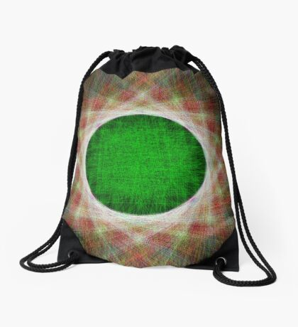 Green Button Planet Drawstring Bag
