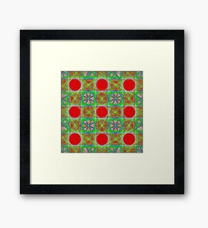 Nine Red Button Planets Framed Print