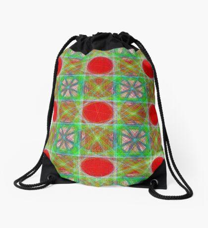 Nine Red Button Planets Drawstring Bag