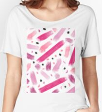 Modern pink ombre abstract brushstrokes pattern  Women's Relaxed Fit T-Shirt