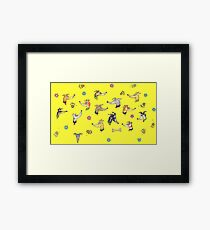 Greys in Yellow Framed Print
