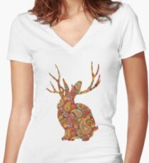 The Paisley Rabbit Women's Fitted V-Neck T-Shirt