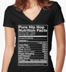 Pure Hip Hop Nutrition Facts Women's Fitted V-Neck T-Shirt