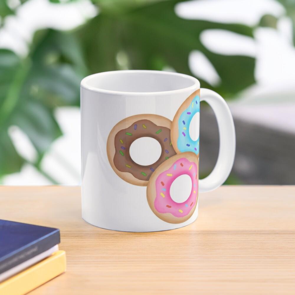 Donut Trio Pink Blue Brown Mug